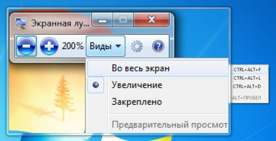 Как использовать экранную лупу Windows 7?